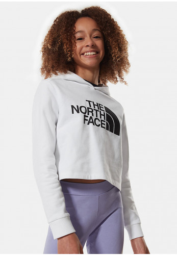 The North Face Girls Cropped Large Logo Hoodie, White