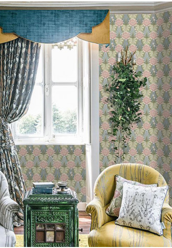 The Chateau Lily Garden Wallpaper, Blue