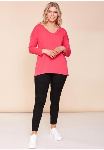 The Casual Company Riley V Neck T-Shirt, Pink