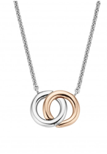 Ti Sento Hoop Charm Necklace, Silver & Rose Gold