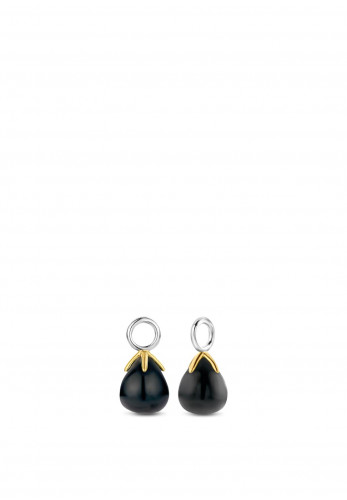 Ti Sento Milano Black Onyx Flowerbud Drop Ear Charms 9216BO
