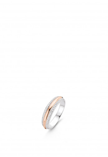 Ti Sento Triple Stack Silver and Rose Gold Ring