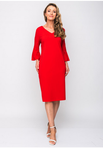 Tia Fluted Cuff V-Neck Crepe Dress, Red
