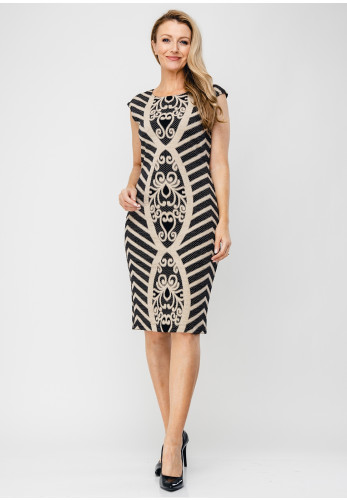 Tia Baroque Print Pencil Dress, Gold & Black