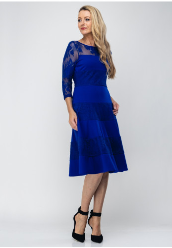 Tia Lace Stripe Flared Dress, Royal Blue