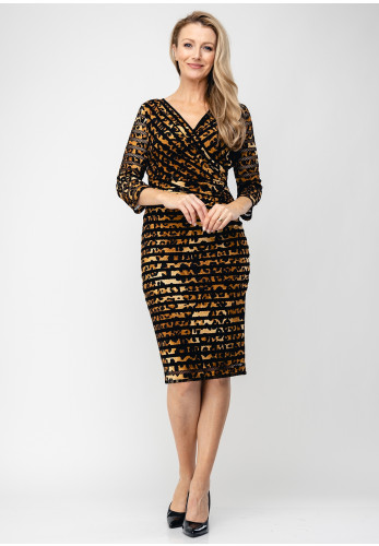 Tia Mesh Trim Animal Print Dress, Brown & Black