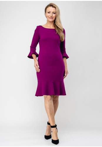 Tia Fluted Cuff Jersey Pencil Dress, Purple
