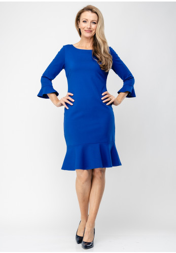 Tia Fluted Cuff Jersey Pencil Dress, Royal Blue