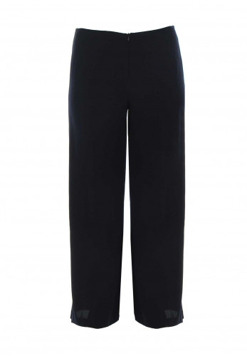 Tia Button Trim Wide Leg Trousers, Navy