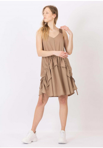 Tiffosi Kale Ruched Summer Dress, Beige