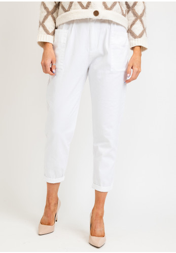 Tiffosi Pipy Paper Bag Waist Cropped Trousers, White