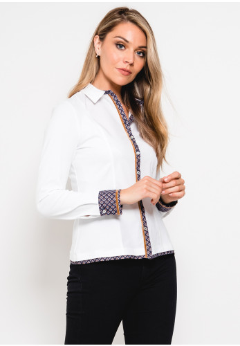 Tinta Melania Printed Trim Blouse, White