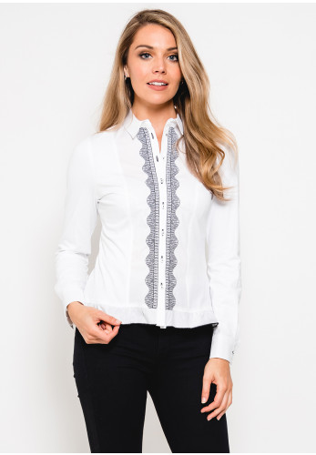 Tinta Narcisa Embroidered Trim Blouse, White