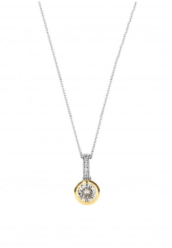 Ti Sento Yellow Gold Contrasting Crystal Necklace