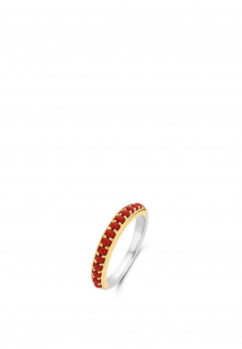 Ti Sento Milano Coral Red Band Ring, Gold