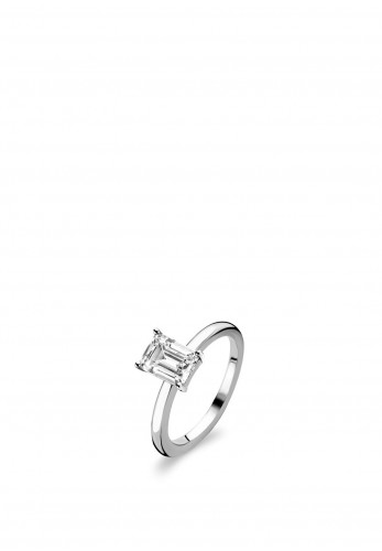 Ti Sento Milano Zirconia Rectangle Set Ring, Silver