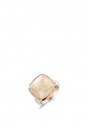 Ti Sento Milano Square Stone Ring, Rose Gold & Cream