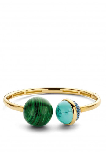 Ti Sento Milano Malachite Stone Cuff Bangle, Gold Multi