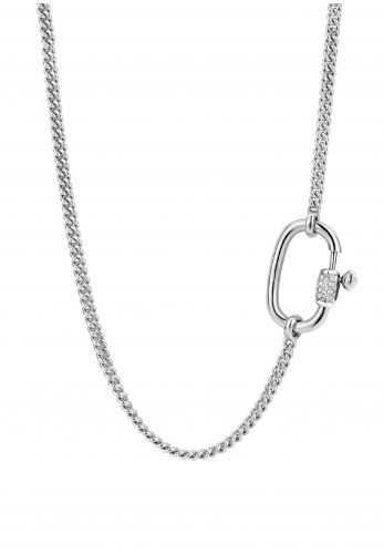 Ti Sento Milano Statement Lock Chain Necklace, Silver