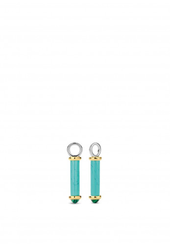 Ti Sento Milano Tube Shaped Stone Earring Charms, Blue