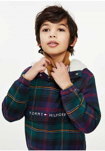 Tommy Hilfiger Hooded Check Sherpa Popover Jacket, Green Multi