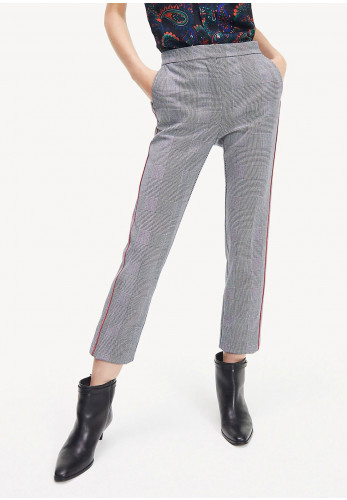 Tommy Hilfiger Womens Check Slim Trousers, Grey