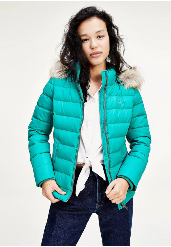 Tommy Jeans Womens Down & Feather Quilted Jacket, Midwest Green