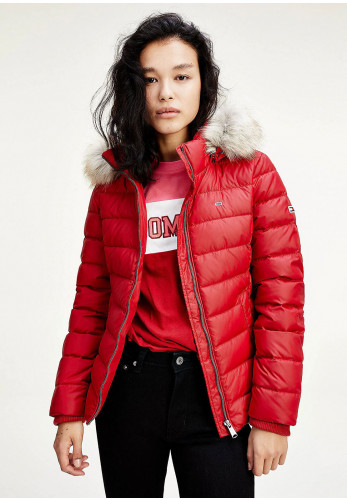 Tommy Jeans Womens Down & Feather Quilted Jacket, Wine Red
