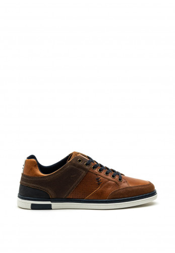 Tommy Bowe Connors Leather Mix Trainer, Amber Espresso