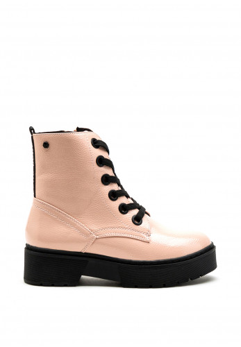Tommy Bowe Womens Pearse Lug Sole Patent Boot, Pink