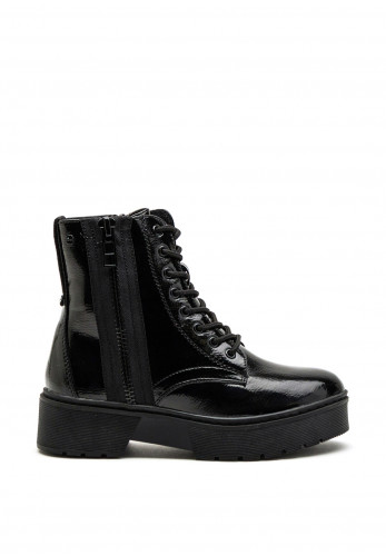 Tommy Bowe Womens Sparkes Lug Sole Patent Boot, Black