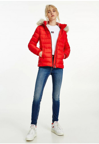 Tommy Jeans Womens Feather Quilted Jacket, Deep Crimson