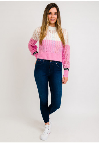 Tommy Jeans Womens Open Knit Crop Jumper, Pink & White