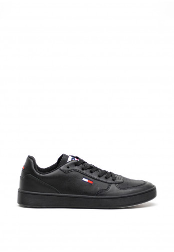 Tommy Hilfiger Leather Lace Up Trainers, Black
