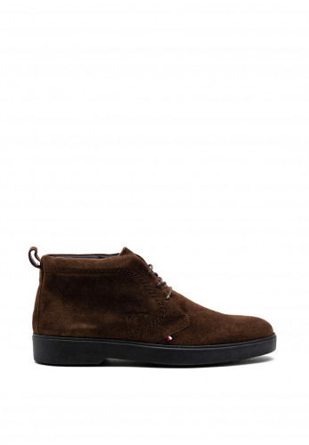 Tommy Hilfiger Classic Suede Lace Up Ankle Boot, Cocoa