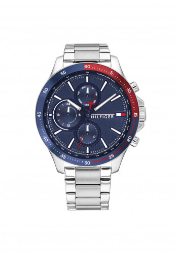 Tommy Hilfiger Mens Bank Blue & Red Dial Stainless Steel Watch, Silver