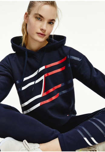 Tommy Hilfiger Womens Relaxed Flag Graphic Crop Hoodie, Navy