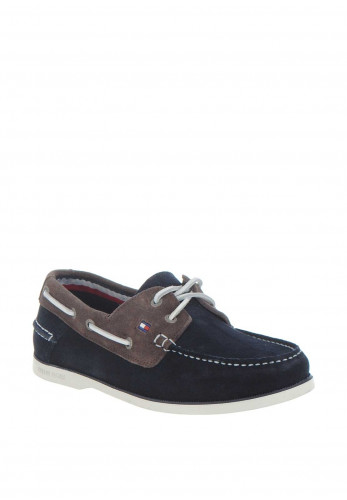 Tommy Hilfiger Suede Slip on Boatshoe, Navy