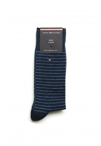 Tommy Hilfiger Mens 2 Pack Cotton Thin Stripe Socks, Jeans
