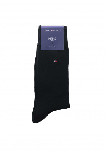 Tommy Hilfiger Mens 2 Pack Plain Socks, Black