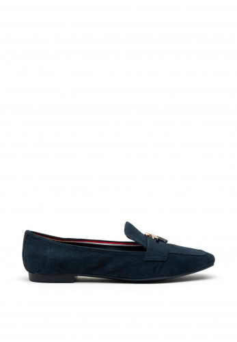Tommy Hilfiger Womens Suede TH Loafer, Navy