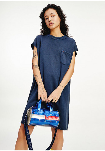 Tommy Jeans Embellished Basketball T-Shirt Dress, Navy