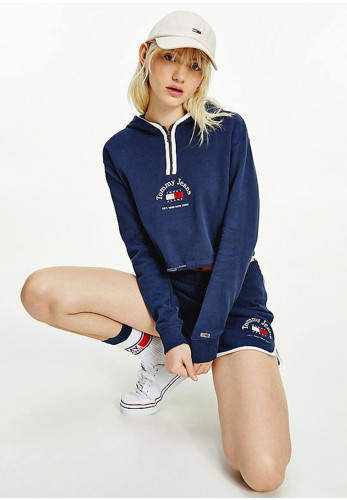 Tommy Jeans Womens Cropped Logo Quarter Zip, Navy