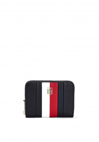 Tommy Hilfiger Small Zip Around Striped Wallet, Black