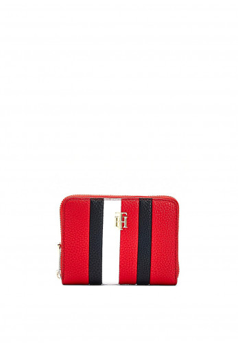 Tommy Hilfiger Small Zip Around Striped Wallet, Red