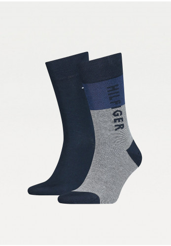 Tommy Hilfiger Mens 2 Pack Cotton Nylon Socks, Navy Blue