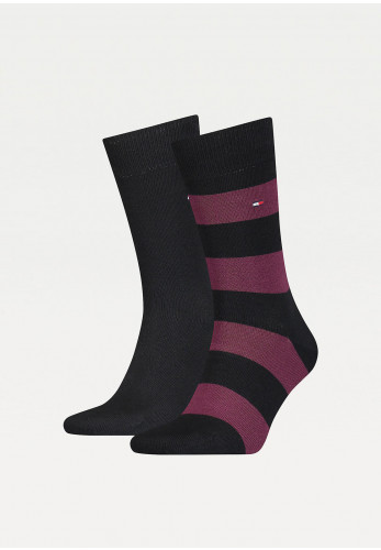 Tommy Hilfiger Mens 2 Pack Cotton Rugby Socks, Black Combo