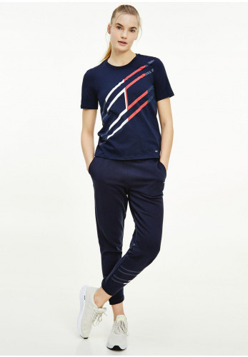 Tommy Hilfiger Womens Relaxed Flag Graphic T-Shirt, Navy