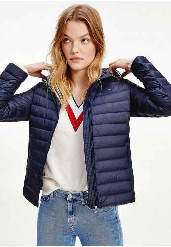 Tommy Hilfiger Womens Essential Quilted Hooded Down-Filled Jacket, Navy