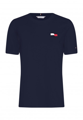 Tommy Hilfiger Womens Embroidered Motion Flag T-Shirt, Navy